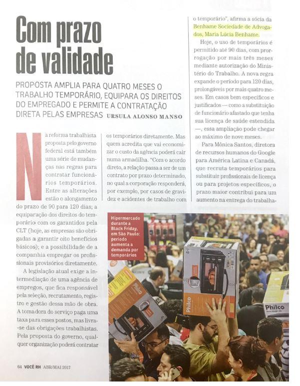 Entrevista Dra. Maria Lucia Benhame para a revista Você RH