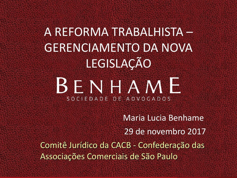 Maria Lucia Benhame em palestra da CACB