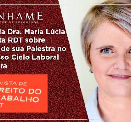 Artigo da Dra. Maria Lúcia na revista RDT sobre assunto de sua Palestra no Congresso Cielo Laboral na integra