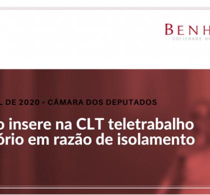 Projeto insere na CLT teletrabalho provisório em razão de isolamento social
