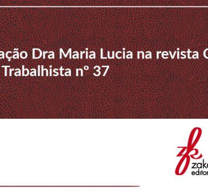 Participação Dra. Maria Lucia na Revista Conceito Jurídico Trabalhista nº 37