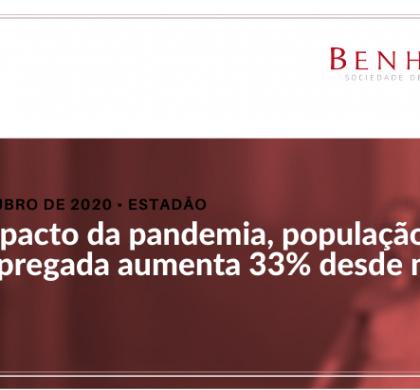 Sob impacto da pandemia, população desempregada aumenta 33% desde maio